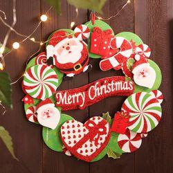 글리터 크리스마스 입체 리스 - 산타
