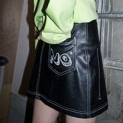 NO Fake Leather Mini Skirt (BLACK)