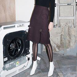 Ring Detail Check Midi Skirt (RED)