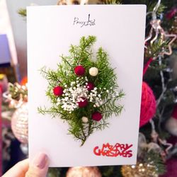 크리스마스 드라이플라워 카드 NO.22눈오는크리스마스