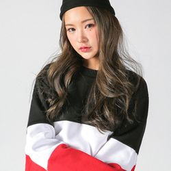 슈퍼레이티브 - 3 TONE 배색 기모 맨투맨 - 블랙