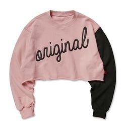 슈퍼레이티브 - ORIGINAL CROP SWEAT - 핑크블랙
