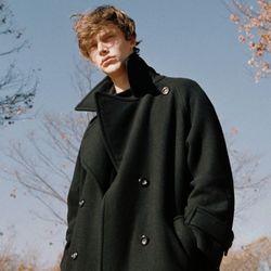 DOUBLE WOOL LONG COAT BLACK (MEN)