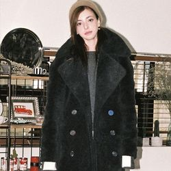 FAKE WOOL FUR COAT CHARCOAL