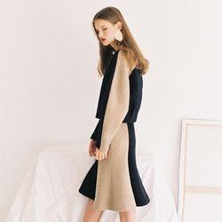 [Italian wool] MERMAID SKIRT NAVY