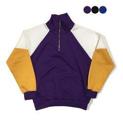 Color Block Half Zip up Sweatshirt(3color)(unisex)