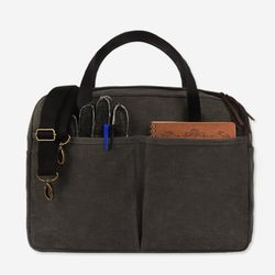 Vintage Brief Bag Wax Canvas Charcoal