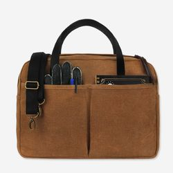 Vintage Brief Bag Wax Canvas Camel