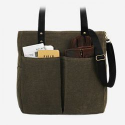6 Pocket 3 Way Bag - Wax Canvas Khaki