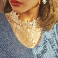 feminine lace neck blouse