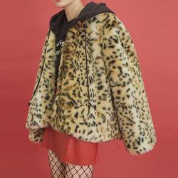 two-way leopard hood fur jacket