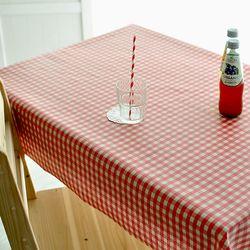 빈티지 레드체크 방수식탁보(6인210cm)