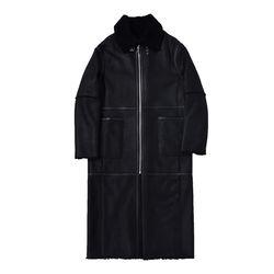 LAMB SKIN LONG COAT (BLACK)