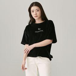 DKP010 루즈 벨벳 레터링 티셔츠