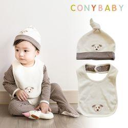 [CONY]오가닉강아지띠출산소품2종세트(턱받이+모자)