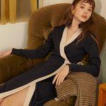 [살롱드욘]Long Wrap Dress 2colors(Navy Black)