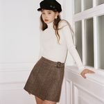Belted Check Wrap Skirt 2colors(Brown Black)