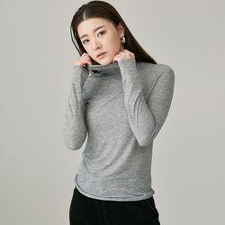 DKP012 시스루 컷팅 터틀넥 티셔츠