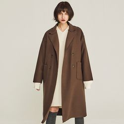CLOSING CUT WOOL DOUBLE COAT (DARK BROWN)