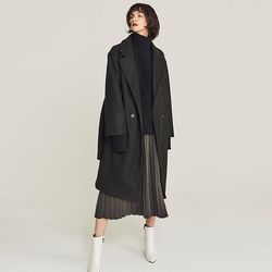 TRENCH DOUBLE WOOL LONG COAT (BLACK)