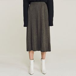 PLEAT WOOLEN KNIT LONG SKIRT (CHARCOAL)