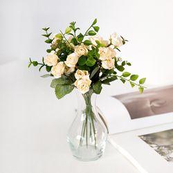 벨리타 장미 꽃다발 + 라인 유리화병(미니) SET