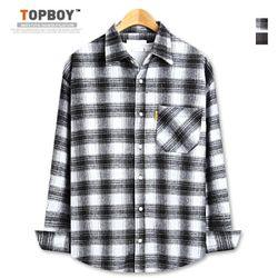 [탑보이] 따뜻한 오버핏 핸드 체크셔츠 (ZT164)