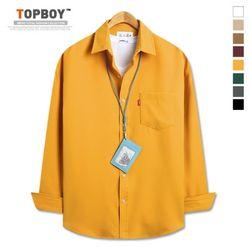 [탑보이] 오버핏 리얼 무지 기모셔츠 (DO245)