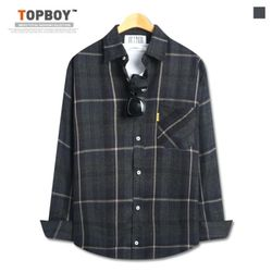 [탑보이] 제이칠 기모 오버핏 체크셔츠 (ZT159)