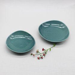 핸드메이드 도자기접시 둥근삼각찬기세트(2p)-피콕