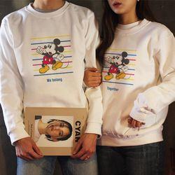 미키 Line 커플 기모맨투맨 - 주문인쇄