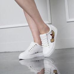 [쿠루] 여성 3cm 사이드 와펜 키높이 스니커즈 G6404