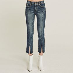 PINTUCK DARK WA SHED SLIT JEAN