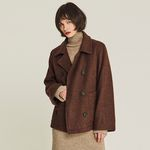 SHORT WOOL DOUBLE JACKET (BROWN)