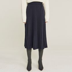 PLEAT WOOLEN KNIT LONG SKIRT (NAVY)