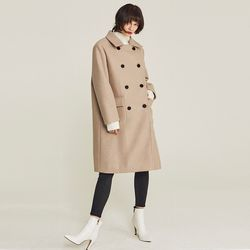 BUTTON DOUBLE WOOL BLEND COAT (OATMEAL)