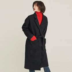 LINED WOOL WRAP COAT (BLACK)