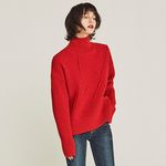 EMBROIDER WOOL TURTLENECK SWEATER (RED)