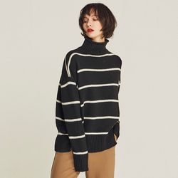 STRIPE HALF TURTLENECK SWEATER (BLACK)