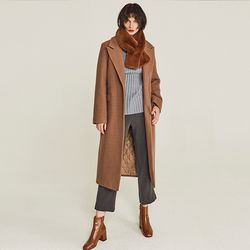 TAILORED WOOL SINGLE LONG COAT (BEIGE)