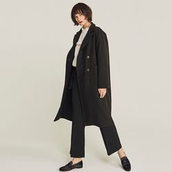 CLOSING CUT WOOL DOUBLE COAT (BLACK)