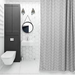 욕실 화장실 패브릭 샤워 방수 커튼 (그레이 120x180)