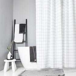 욕실 화장실 패브릭 샤워 방수 커튼 (화이트 180x180)