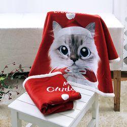 슈가캣&캔디도기 크리스마스 양털 담요