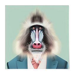 패브릭 포스터 S060 동물 친구 맨드릴 원숭이 [중형]