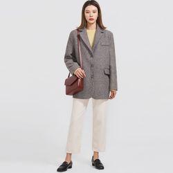 diagonal line wool jacket