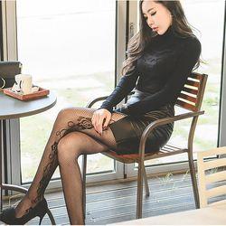 장미세로줄망사스타킹 팬티스타킹 패션 무지 여성