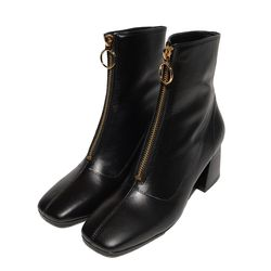 FRONT ZIPPER LEATHER BOOTS (BLACK)