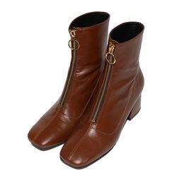 FRONT ZIPPER LEATHER BOOTS (BROWN)