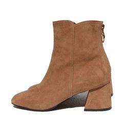 BACK ZIPPER SUEDE BOOTS (BROWN)